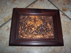Kicsi vadászjelenetes fém kép keretben