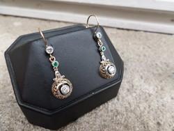 Brilles - smaragdos antik arany fülbevaló pár