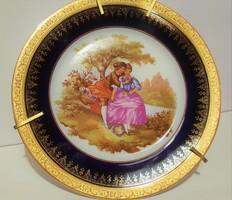 LIMOGES Francia porcelán rokokó jelenetes dísztányér (Kobalt kék-arany) hibátlan