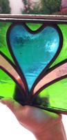 Antik ólomüveg,réz keretben