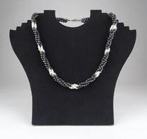 0X275 Fűzött háromsoros elegáns nyaklánc nyakék