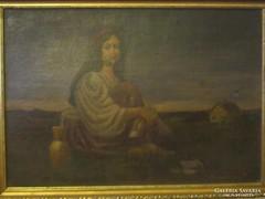 ANTIK Pipázó lány festmény; 36 cm x 51 cm, olaj -vászon