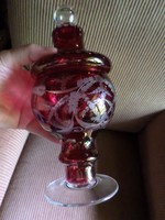24 x 10 cm-es , gyönyörű , bíborpácolt , üveg bonbonier , szép , hibátlan állapotban .