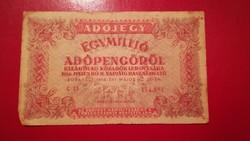 1946-os 1000000 Adópengő hattagú folyószám + fordított címer