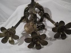 Kovácsoltvas - ajtó - kapucsengő - sárgaréz harang -  patkóra épített - indák - virágok-30 x 22 x 18