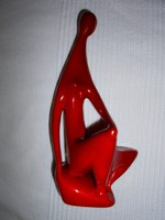 Zsolnay Török ökörvérmázas  porcelán figura 20 cm