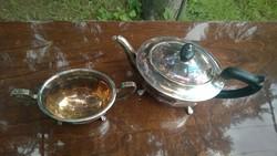 Antik Ezüstözött angol teáskanna és cukortartó állatmancs lábak,aranyozott belső