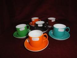 Hollóházi porcelán színes kávés pohár + alátét.