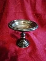 Jelzett fém talpas kínáló,asztalközép