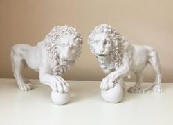 Medici Oroszlánok - páros szobor (Fehér Márvány) Oroszlán Szobor
