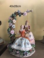Fabris Luigi után  porcelán szobor,hintázó leàny