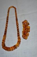Öntött borostyán nyaklánc+ karkötő
