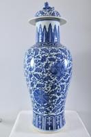 Antik kínai Kangxi stílusú kék-fehér díszváza, 19. század