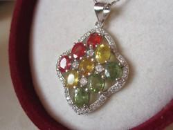 Valódi és ritka: sárga, zöld és vörös zafír ezüst medál- igazi nyári darab