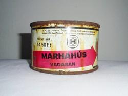Retro konzerv doboz konzervdoboz - Marhahús vadasan - Budapesti Konzervgyár - 1960-1970-es évekből
