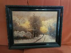 Tèli táj festőfán, 30x40+keret