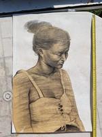 Nő fűzőben, portré, grafika, nagy