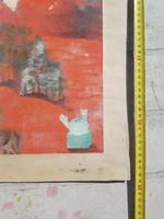Szürrealista stílusú festmény, vegyes technikával, kopásokkal...