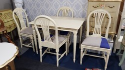 Bővíthető Provence étkezőasztal 4 db székkel