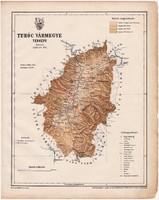Turóc vármegye térkép 1899, Magyarország atlasz (a), Gönczy Pál, 24 x 30 cm, megye, Posner Károly