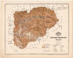 Zólyom vármegye térkép 1899, Magyarország atlasz (a), Gönczy Pál, 24 x 30 cm, megye, Posner Károly