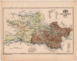 Arad vármegye térkép 1899, Magyarország atlasz (a), Gönczy Pál, 24 x 30 cm, megye, Posner Károly