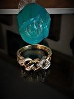 18 k  Svajci gyémánt köves fehér arany fonatu gyűrű 2 napig leárazva !!