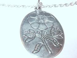 Amulett Virág vésett Iparművész Ezüst Nyaklánc