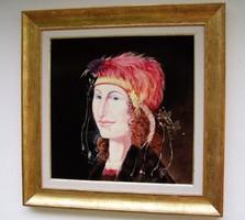 Szász Endre stílusában festett 45x45cm olajfestmény