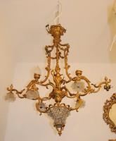 Francia Antik Tűzaranyozott barokk stílusú bronz csillár 1900-as évek elejéről
