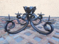 Antik kovácsoltvas asztali gyertyatartó 5 ágú 24*24*11 cm
