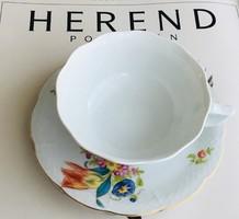 Herendi fehér cappuccinos csésze & tulipános alj