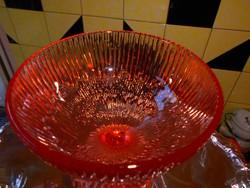 Talpas rózsaszín üvegből  gyümölcsös tál