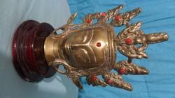 Gyönyörű, réz indiai buddhafej