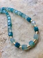 Csodás Víz kék achát kocka ásvány gyöngysor és fülbevaló