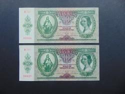 2 darab 10 pengő 1936 Sorszám közeli szép bankjegyek