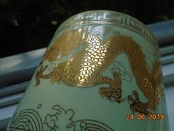 Kínai ecset tartó (brush pot) kézzel festett két arany Ming sárkánnyal és kalligráfiával