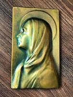 Zsolnay eozin Mária plakett, szentkép