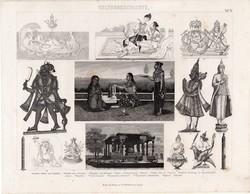 Kultúrtörténet - ókor (15), egyszín nyomat 1875, német, India, indiai, istenek, Brahma, Visnu, Budha