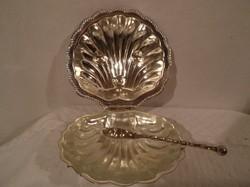 Vajtartó + kés - ezüstözött - Angol - üvegbetétes -  13 x 12 x 5 cm - nem használt