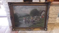 Kőrösy Balogh : Mosónők a pataknál olaj-vászon festmény blondel keret