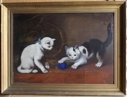 Ismeretlen festő: Gombolyaggal játszó macskák