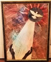 Tavaszy Noémi (1927 - 2018 ) Veni Creator Spiritus c festménye 75x55cm EREDETI GARANCIÁVAL !!