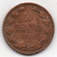 Finnország orosz megszállás 10 finn penniä, 1912