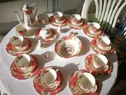 Kuriózum! Extrém ritka Angol Royal Albert Lady Carlyle 9 szem. komplett teás/kávés/sütis porcelán