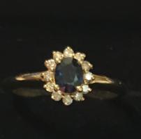 Briliáns gyűrű kék zafírral