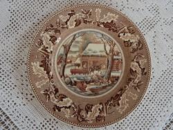 Ritka Angol jelenetes nagy lapos tányér vagy kínáló