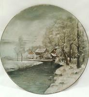 1800-AS ÉVEK, KÉZZEL FESTETT KERÁMIA DÍSZTÁL 29 CM