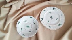 2 db Herendi zöld virágdekoros tányér külön is