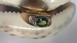 Tanúsítvánnyal Aranygyűrű, Természetes Turmalin 1,4 ct -Zafír 16 db cca. 0,17 ct.